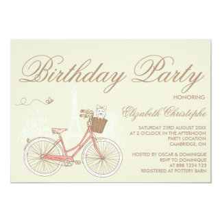 White Terrier on Pink Bicycle Birthday Invitation