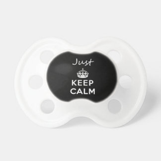 White Text Just Keep Calm Pacifier