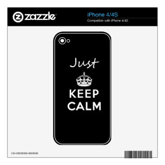 White Text Just Keep Calm Skins For The iPhone 4
