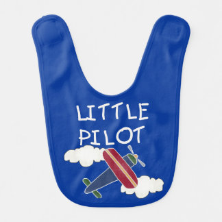 White Text Little Pilot Bib