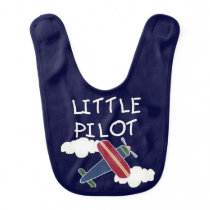 White Text Little Pilot Bib
