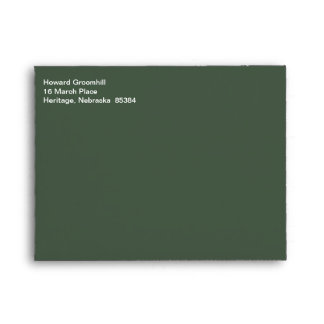 White Text Mailing Fashionable Gray-Asparagus Envelope