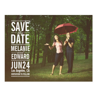 White Text over Photo Save the Date Postcard