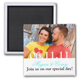 White Text: Save the Date Fridge Magnet