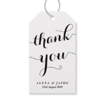 White Thank You Cute Modern Calligraphy Gift Tags