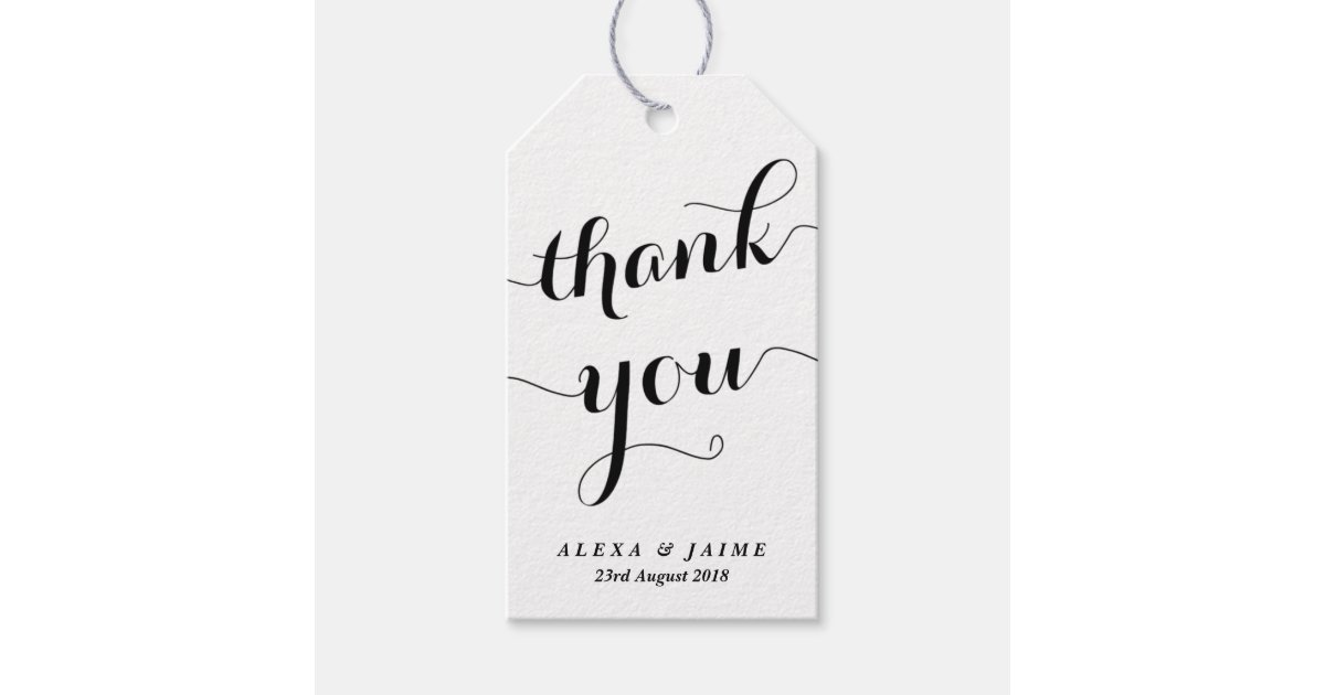 White thank you cute modern calligraphy gift tags zazzle