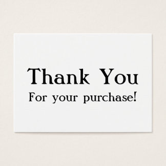 White Thank You For Your Purchase Cards
