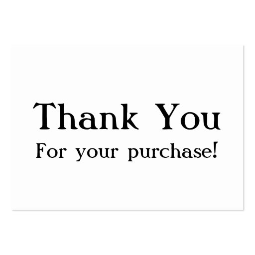 White Thank You For your Purchase Cards Large Business ...