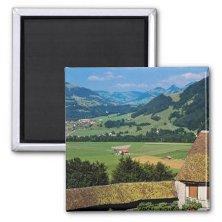 White The flowered courtyard of Gruyere Castle flo 2 Inch Square Magnet