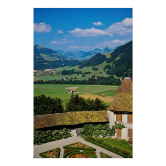 White The flowered courtyard of Gruyere Castle flo Poster