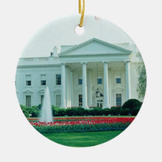 White The White House, Washington, D.C., U.S.A. fl Double-Sided Ceramic Round Christmas Ornament