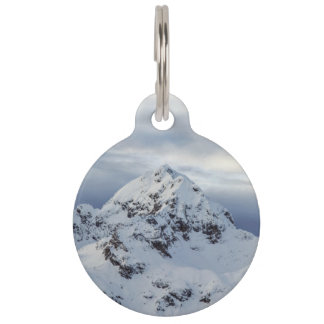 White Themed, A Mountain Covered With Thick Snow A Pet Name Tag