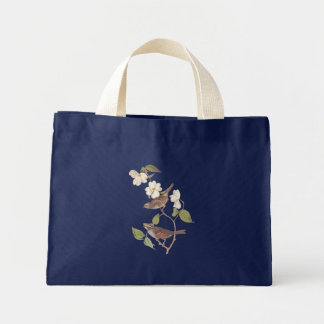 White-Throated Sparrow Audubon Bird in Dogwood Mini Tote Bag