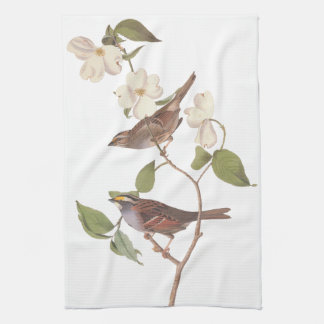 White Throated Sparrow Audubon Birds with Flowers Kitchen Towel