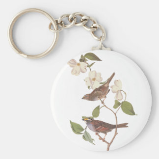 White Throated Sparrow Audubuon Bird with Flowers Keychain