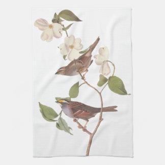 White Throated Sparrow Bird Kitchen Towel