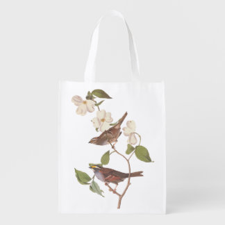 White-Throated Sparrow Bird Reusable Tote Bag Grocery Bags