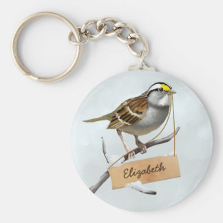 White throated sparrow Custom Name Keychain