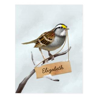 White Throated Sparrow Customize Name Postcard