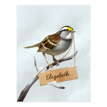 USA Themed White Throated Sparrow Customize Name Postcard
