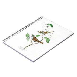 White Throated Sparrow John Audubon Birds America Spiral Notebook