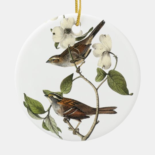 White-throated Sparrow - John Audubon Ceramic Ornament