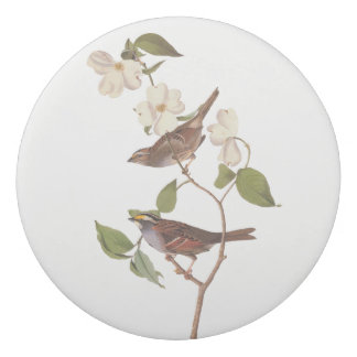 White Throated Sparrow Vintage Audubon Art Eraser