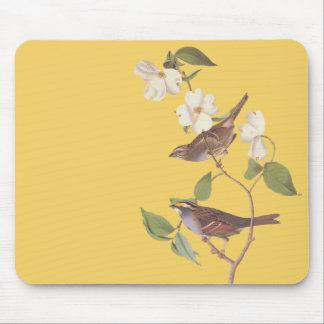 White Throated Sparrow Vintage Audubon Art Mouse Pad