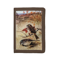 White-Throated Sparrows and Autumn Leaves Tri-fold Wallets