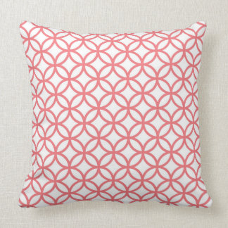 White Throw Pillow with coral overlapping circles