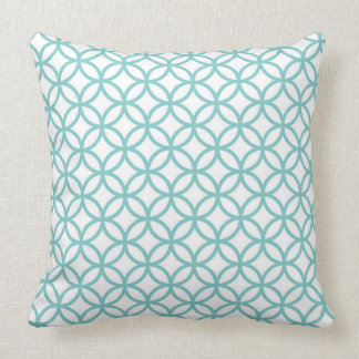 White Throw Pillow with teal overlapping circles