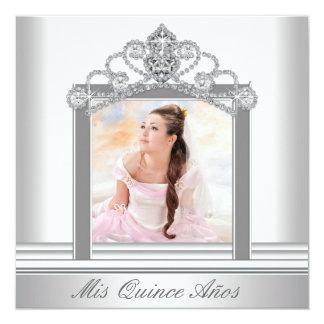 White Tiara White Photo Sweet Quinceanera Card
