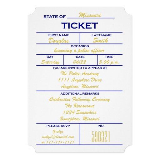 White Ticket Police Graduation Invitations