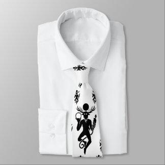 White tie with Cernunnos pattern