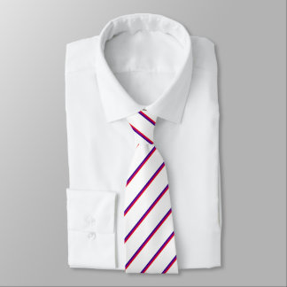 White Tie With Red-Purple Stripes
