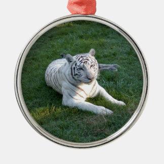 White tiger 017 metal ornament