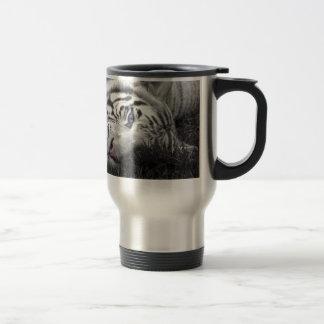 White tiger 15 oz stainless steel travel mug