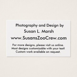 White tiger against blue water walking photograph business card