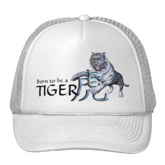 White Tiger and Chinese Symbol Trucker Hat