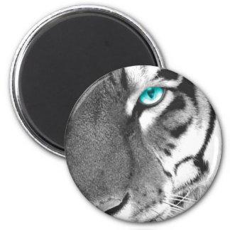 White Tiger aqua eye Fridge Magnet