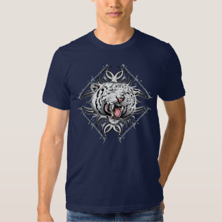 White Tiger Barb Wire Trible Design Tee Shirt
