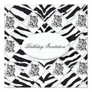White Tiger Birthday Invitation