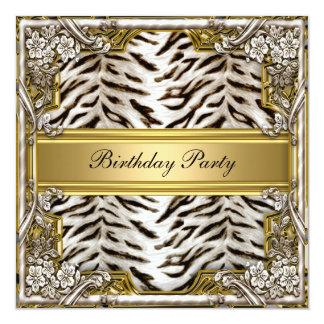 White Tiger Birthday Party Invitation Invitations