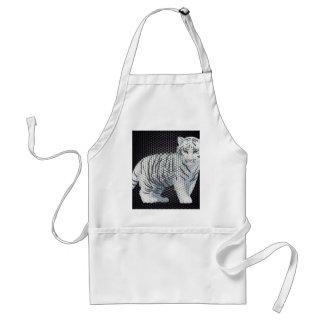 White Tiger & Black Patterns Adult Apron