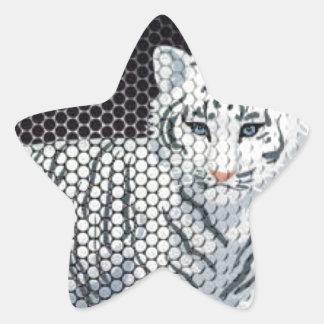 White Tiger & Black Patterns Star Sticker