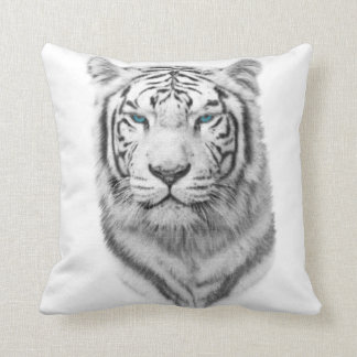 White Tiger, Blue Eyes Throw Pillow