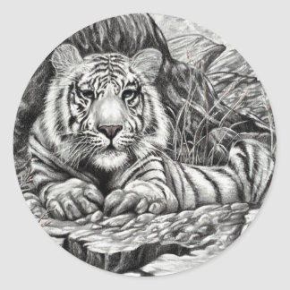 WHITE TIGER   by Diana S Martin Round Stickers
