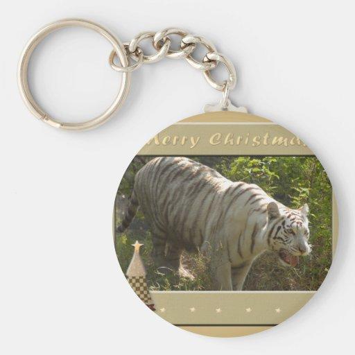 White Tiger-c-158 copy Basic Round Button Keychain