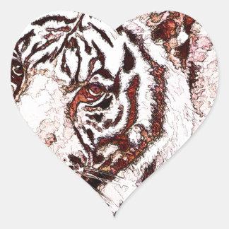 White Tiger Cartoon Heart Sticker