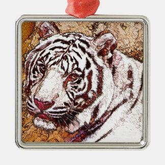 White Tiger Cartoon Metal Ornament